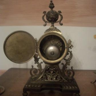 Каминные часы старинные антикварные (гарнитур) конец 19 века