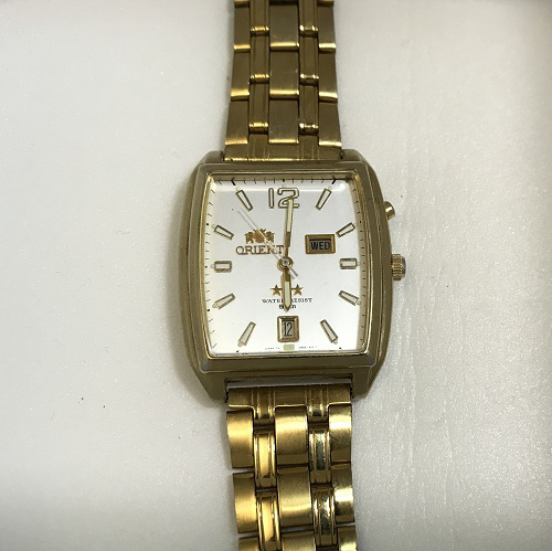 Мужские наручные Часы Orient бочка в желтом корпусе