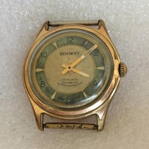 Мужские наручные швейцарские часы Bischoff позолоченные