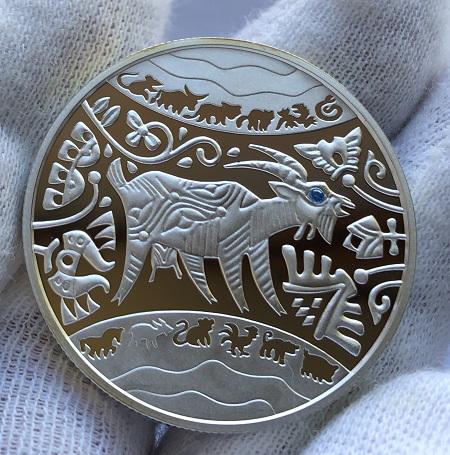 Серебряная памятная монета Украины 5 гривен Год Козы 2015 года