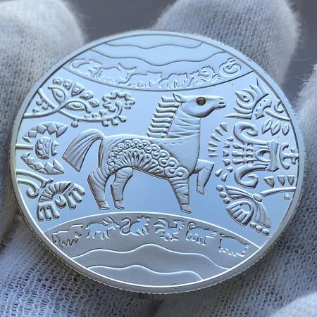 Серебряная памятная монета Украины 5 гривен Год Коня 2014 года