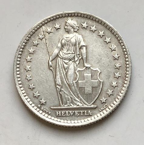 2 швейцарских франка серебро