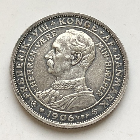 Монета две кроны Дания 1906 года из серебра
