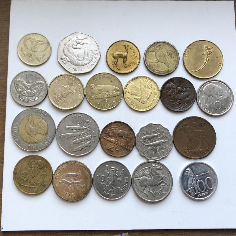 Монеты разных старн мира животные