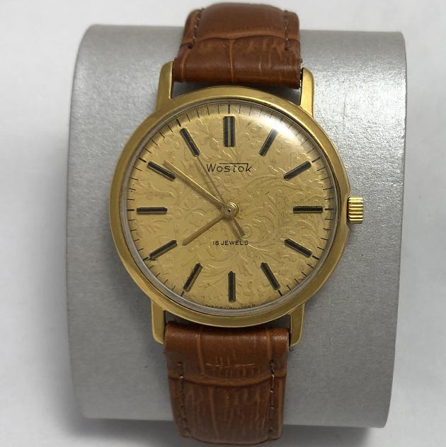 Мужские наручные часы Восток СССР тесненный циферблат позолоченные