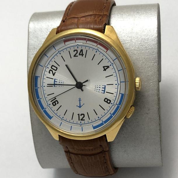 Мужские наручные часы Ракета 24 часа суточные в позолоте СССР