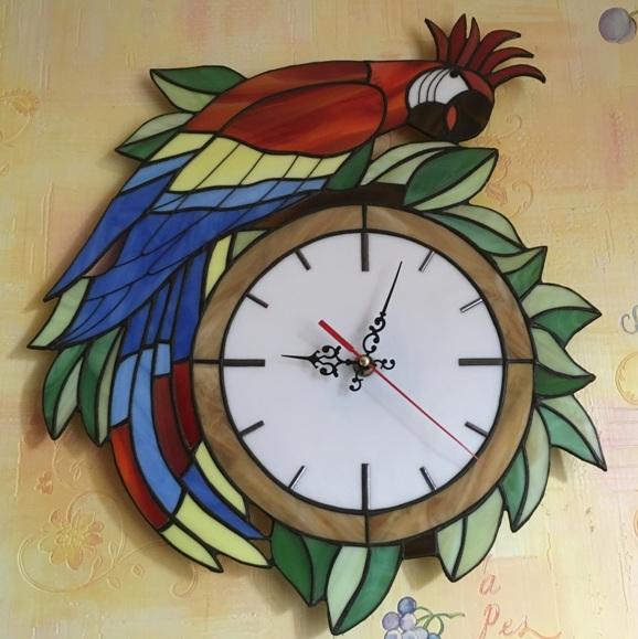 Часы настенные витражные ручной работы
