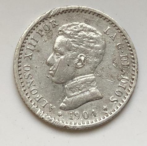 Старинная Испанская монета 50 сентимо серебро