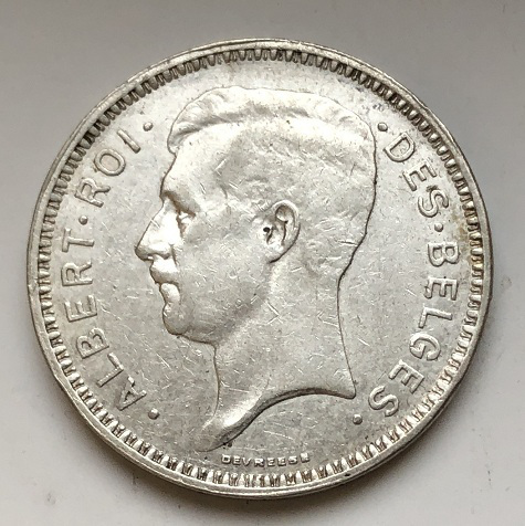 Монета 20 франков Бельгия серебро