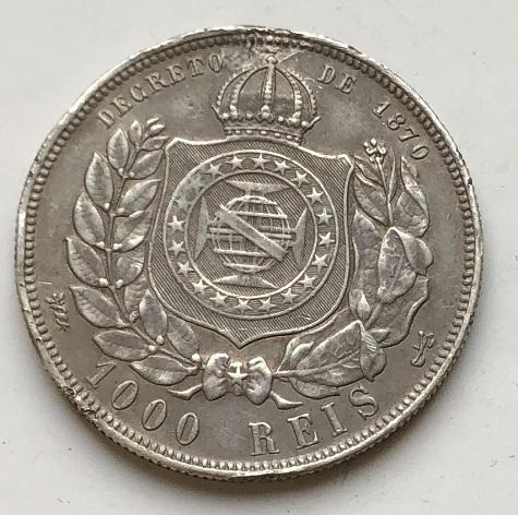Старинная Бразильская монета серебро