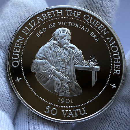 Серебряная монета островов Вануату 50 вату