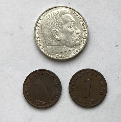 Комплект немецких монет 3 рейха