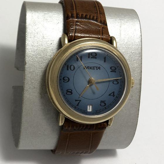 Мужские наручные часы Ракета синие позолоченные СССР