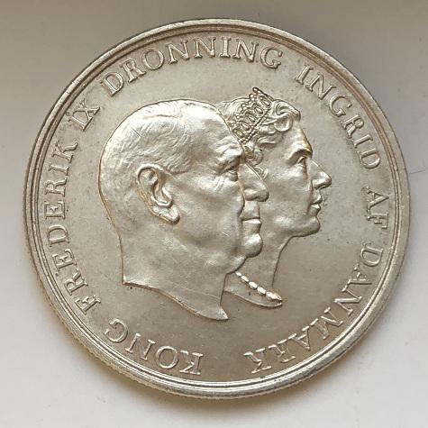 Монета Дании 5 крон серебро