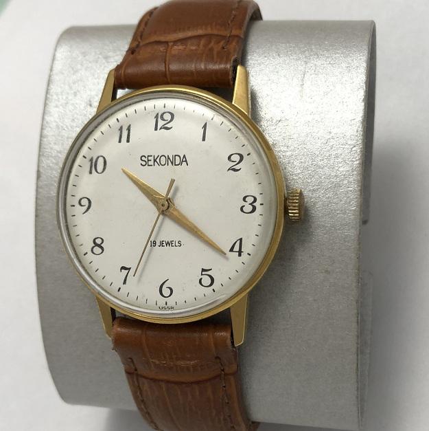 Мужские наручные часы Seconda СССР интересные в позолоте