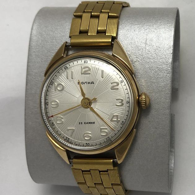 Мужские наручные часы Волна СССР ЧЧЗ позолоченные 22 камня
