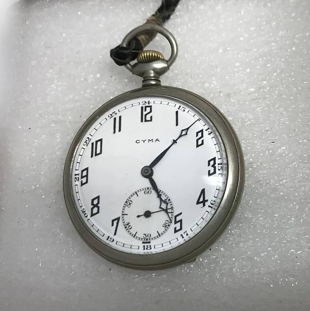 Старинные карманные швейцарские часы Cyma