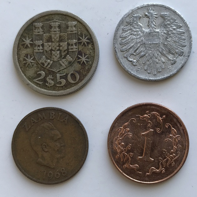 Комплект интересных стариных монет №3 - Европа и Африка 4 шт
