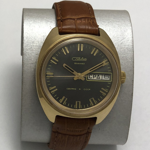 Мужские наручные часы Слава 26 камней позолоченные