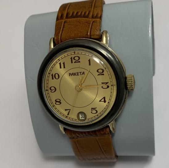 Мужские наручные часы Ракета петроградская СССР рассыпуха позолоченные