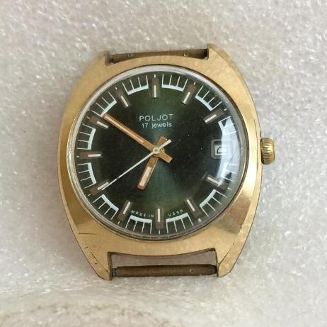 мужские часы Полет СССР позолоченные зеленые