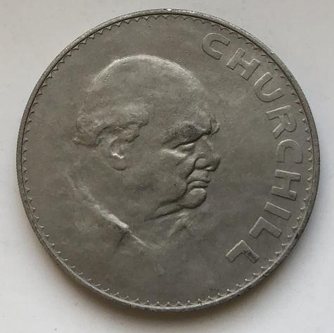 Монета пять шиллингов Англия Черчилль