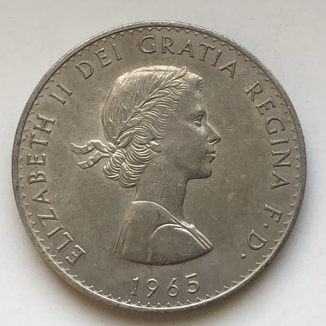 Монета пять шиллингов Англия