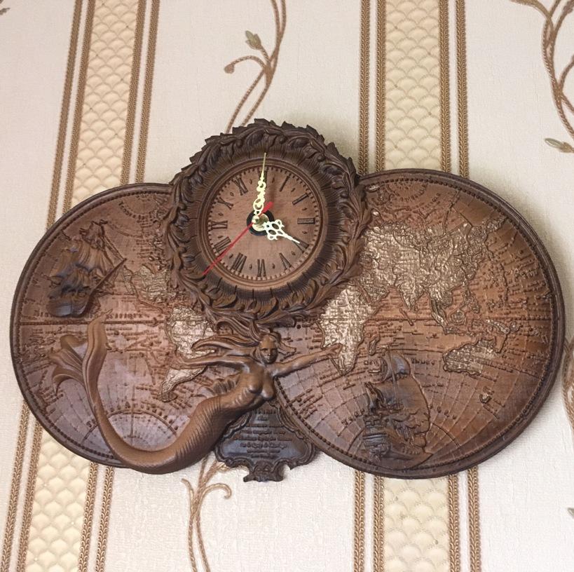 Деревянные резные часы настенные русалка