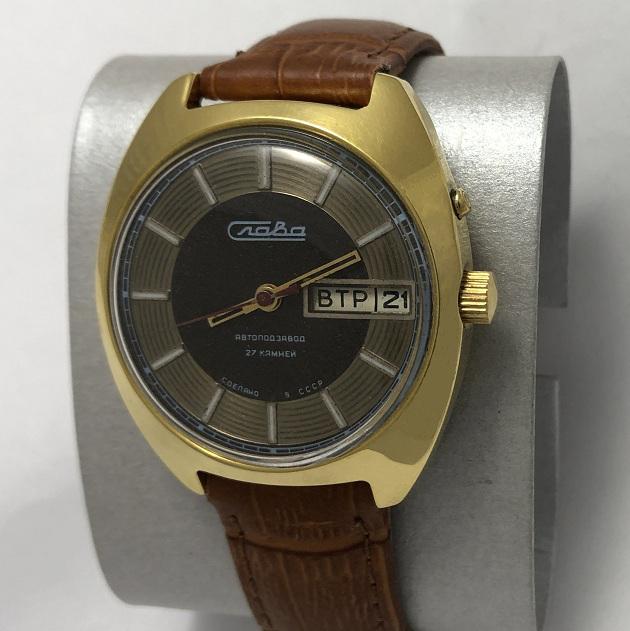Мужские наручные часы Слава СССР косая автоподзавод в позолоте