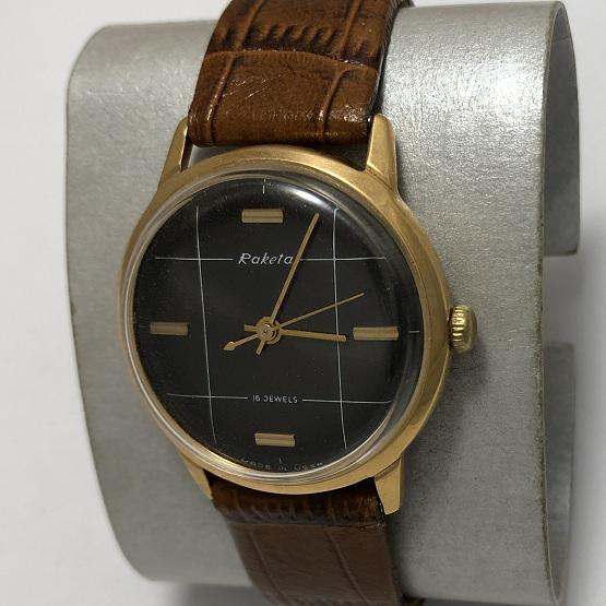 Мужские наручные часы Ракета СССР черные в позолоте