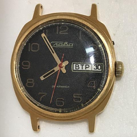 Наручные мужские часы Слава СССР 26 камней черный циферблат