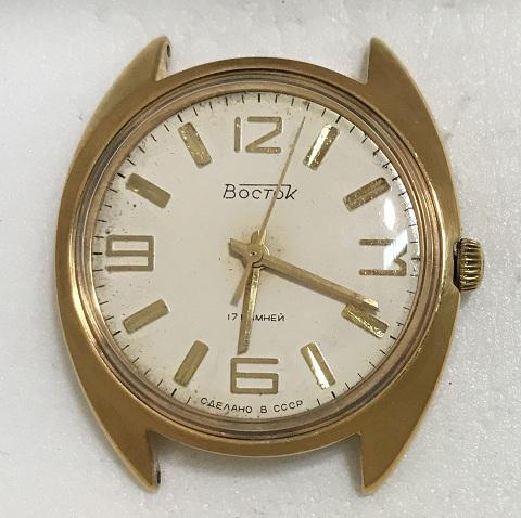Мужские наручные часы Восток СССР белые в позолоте