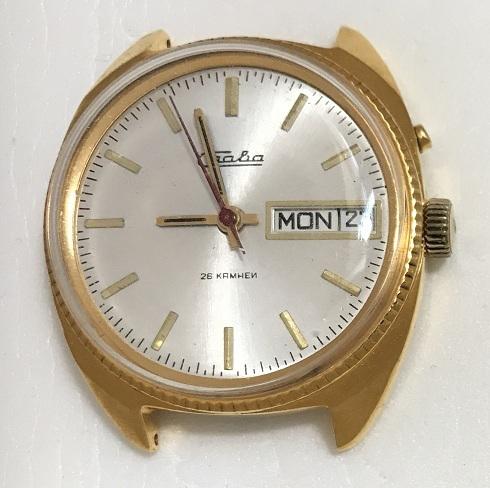 Мужские наручные часы Slava USSR позолоченные