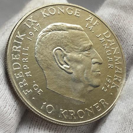 Старая монета Дании серебро 10 крон