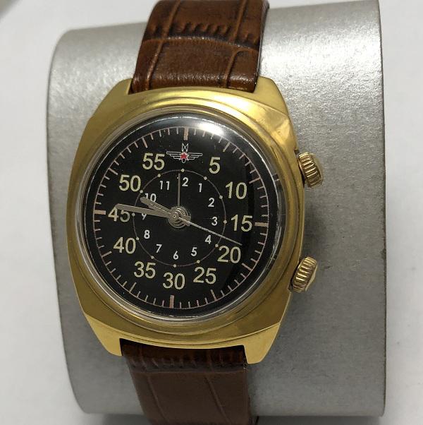 Мужские наручные часы Полет Columbus с будильником CCCР позолоченные