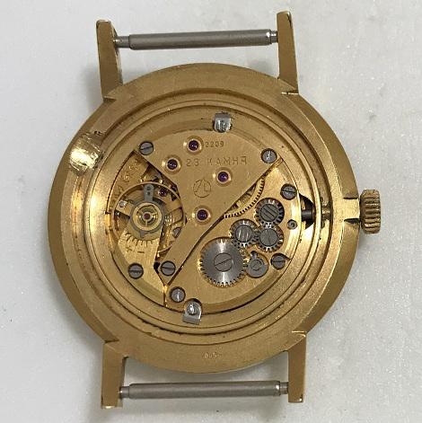 Мужские наручные часы Луч СССР черные в позолоте