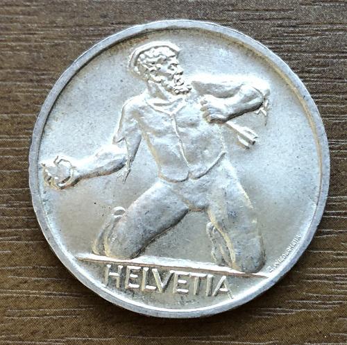 Редкая швейцарская монета серебро