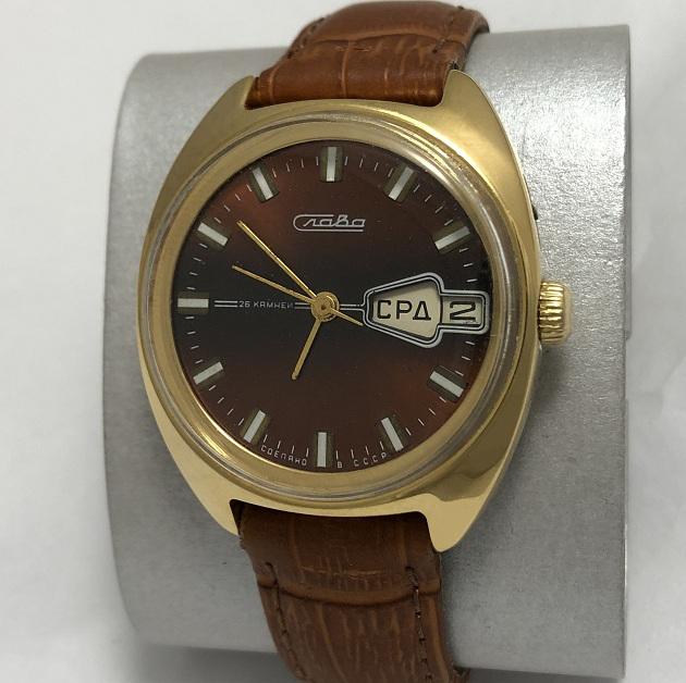 Мужские наручные часы Слава СССР бордовые в позолоте большие