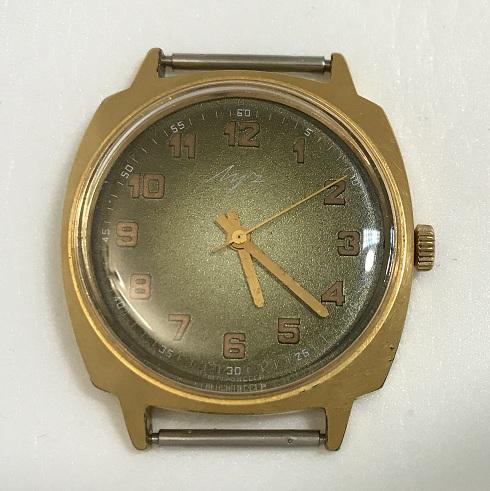 Наручные мужские часы Луч СССР в позолоте зеленые