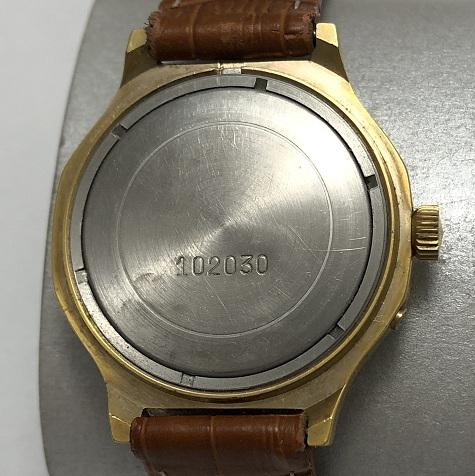 Наручные мужские часы Слава СССР 26 камней черные в позолоте
