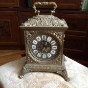 Часы каретные каминные настольные в литом латунном корпусе - классика, механизм кварцевый