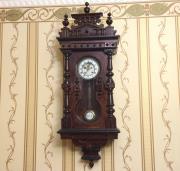 Старинные настенные немецкие часы 19 века с выносным анкером