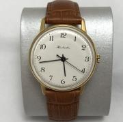 Мужские наручные часы Ракета СССР позолоченные белые рифленка