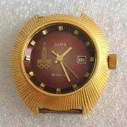 Женские наручные часы Заря СССР 22 камня олимпиада позолоченные
