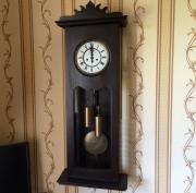 Большие кабинетные старинные гиревые настенные часы Gustav Becker гиревые 1893 год!