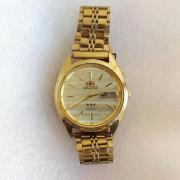 Мужские наручные Часы Orient 3 Stars crystal 21 jewels в желтом корпусе