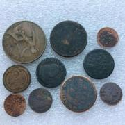 Комплект старых европейских монет № 11 из 10 штук