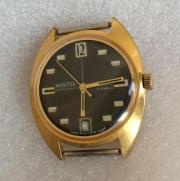 Мужские наручные часы Восток СССР черные редкие в позолоте