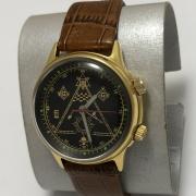 Мужские наручные часы Полет СССР 23 камня черные в позолоте